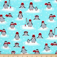 Kaufman Polar Pals Holiday Penguins Aqua from @fabricdotcom  Designed by Andie Hanna for Robert Kaufman, this cotton print is perfect for apparel, quilting and home decor accents. Colors include grey, light grey, red, pink, orange, aqua and light blue.