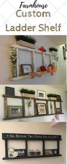 Need this farmhouse ladder shelf in my living room to display photos, etc. #farmhousestyle #rusticdecor #ad