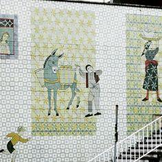 #Azulejos#Tiles#panel##1958#JúlioPomar#and#AliceJorge#Pomar#amazing#painter#illustrator#setdesigner#artist#streetart#tileaddiction#InfanteSanto#Lisbon#Portugal# by alexmaferreira