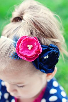 Etsy.com: pink and navy blue flower headband for baby, toddler, girls, $12.95