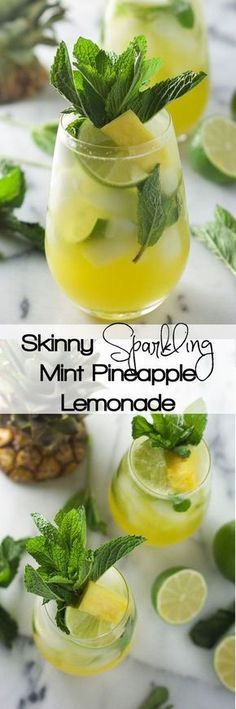 Skinny Sparkling Mint Pineapple Lemonade is light, refreshing and filled with fruity flavors!