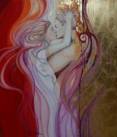 TWIN FLAMES - 2015 Today, you are receiving incredibly deep spiritual links with your Twin Flame partner. Twin Flame Love, Twin Flames, Twin Souls, My Sun And Stars, Klimt, Tantra, Beautiful Artwork, Oil On Canvas, Fantasy Art