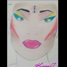 I found this face chart I did months ago for the 80's collab with @slomakeup  I was only my 2nd attempt at face charting and I'm still struggling with symmetry on charts. If you have any tips on symmetry I'd love to hear them!  This look was inspired by Boy George,  Madonna,  and Cyndi Lauper!   You can find these charts by @thefacechart created by the master @thedustinhunter   #Slomakeup #thedustinhunter #thefacechart #facecharts #80s #boyGeorge #cyndiLauper #Madonna #colorful #creative…