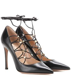 mytheresa.com - Rockstud leather lace-up pumps - Luxury Fashion for Women / Designer clothing, shoes, bags