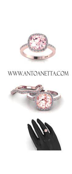 14k Rose Gold Cushion Morganite Engagement Ring Diamond Halo Wedding Set