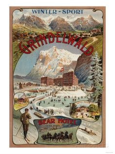 Grindelwald, Switzerland - View of the Bear Hotel Promotional Poster Art Print