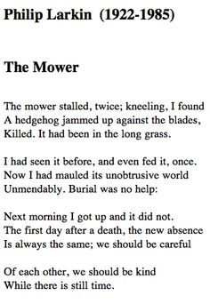 the mower, philip larkin | Tumblr