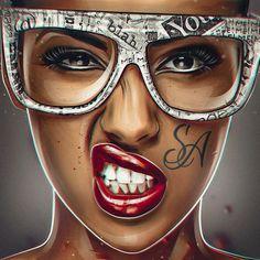 San Andreas on Behance ❤❁DarlingDarla Paris❀✿ = Me Black Girl Art, Black Women Art, Black Art, Dope Kunst, Art Chicano, Arte Dope, Art Afro, Tableau Pop Art, Arte Black
