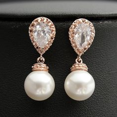 Pearl Jewelry ROSE GOLD Pearl Cubic Zirconia Pearl Bridal Earrings Posts with Swarovski Cream Pearls Wedding Jewelry