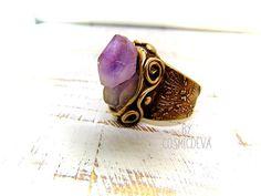 Statement bronze ring women Birthstone lapis lazuli bronze ring big Ring size 8 medieval