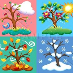 en ingles Four Seasons Tree Counted Cross Stitch Pattern Pre K Lesson Plans, Kindergarten Lesson Plans, Seasons Of The Year, Four Seasons, Weather For Kids, Cold Weather, Month Weather, Seasons Activities, Children Activities