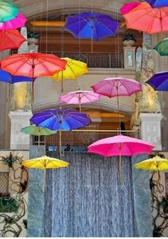 Colourful brollies - a colorful installation
