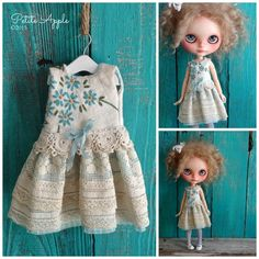 Blythe doll outfit *Forget me not* OOAK vintage hand embroidered dress