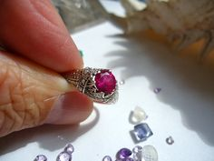 Victorian Ruby Solitaire  Fine Jewelry Handmade Gothic Steampunk Christian Engagement Wedding ring size 5 on Etsy, $149.00