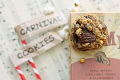 Carnival Cookies- sweetened by bananas and chocolate bits (no added sugar) and they have POPCORN in them!
