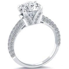 3.52 Carat H-SI3 Certified Natural Round Diamond Engagement Ring 18k White Gold - Thumbnail 2