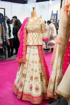 white and hot pink gota patti lehenga, rajasthani blouse, peplum blouse, georgette, rani pink and white,Swati Ubroi