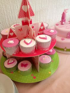 #cake display #princess #pink #matching cake and cupcakes #castle #birthday #girl #tea party #tutu #1st birthday #party food #food table