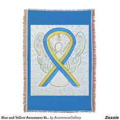 Blue and Yellow Awareness Ribbon Down's Syndrome Angel Blanket