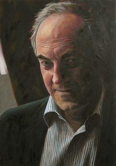 Jan Wisse, 2012, Portrait of Job Cohen -former Mayor of Amsterdam and Politician- Live painting In TV-program 'Sterren op het doek' 2012. Oil on marouflé. Private Collection.