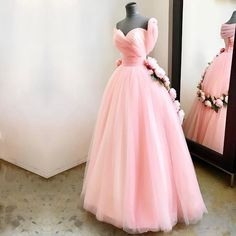 A Line Sweetheart Pink Tulle Princess Wedding Dresses With Peonies Flowers
