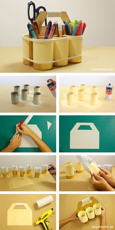 Organizador-diy-escritorio-con-latas-organizer-cans . Mås Want to make smaller one w/ 4 cans to hold pens, markers. Home Crafts, Diy And Crafts, Crafts For Kids, Decoration Creche, Tin Can Crafts, Diy Manicure, Diy Recycle, Diy Desk, Recycled Crafts