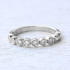14K White Gold Vintage The Bellissima Diamond Wedding Ring