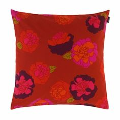 Marimekko Kaneliruusu Throw Pillow Designer Erja Hirvi cleverly colored each section of rose a different yet complimentary color to highlight the beautiful layers of the blossoms. Red Throw Pillows, Designer Throw Pillows, Marimekko Bedding, Make Your Bed, Complimentary Colors, Floral Motif, Pillow Shams, Fashion Prints, Textile Design