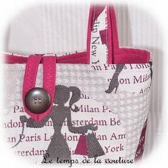 "DUO DE SAC CABAS - Tons de rose fuchsia, gris, et taupe, motif ""shopping"" - FAIT MAIN."