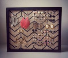 DIY Burlap & Picture Frame Earring Holder  | 10 DIY Earring Holder Ideas | Dollar Store Jewelry Organizing Ideas by DIY Ready at http://diyready.com/diy-earring-holder-ideas/