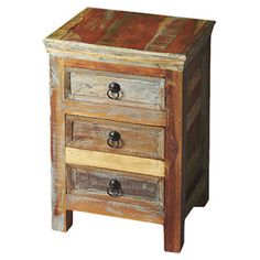 Rustic Nightside Table from Wayfair Crafted from recycled solid wood in a multi-coloured hand-painted finish ensuring bonafide originality, this Accent Chest offers the faded colours of an heirloom as well as an alluring rustic charm.