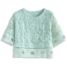 Chicwish Crochet My Dreams Top in Mint ($42) ❤ liked on Polyvore featuring tops, green, floral top, green top, crochet summer tops, mint top and floral print crop top
