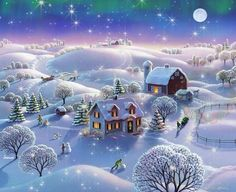 Winter Night Painting - Winter Night by Robin Moline Kinkade Paintings, Winter Night, Winter Art, Farm Art, Winter Photos Christmas Tree Gif, Merry Christmas Animation, Merry Christmas Pictures, Christmas Scenery, Happy Merry Christmas, Christmas Greetings, Vintage Christmas, Merry Happy, Merry Christmas Quotes Wishing You A