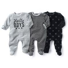 3 пижамы со вшитыми носочками из велюра Мини-цена