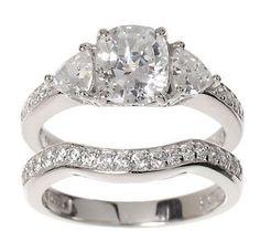Epiphany Diamonique 2.95 ct tw 100-Facet 2-pc. Bridal Ring Set
