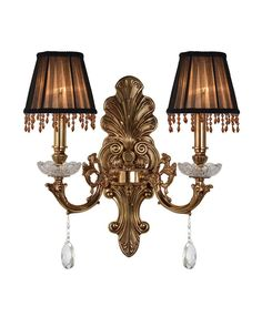 2 Lights Crystal Fringe Brownish Shade Brass Base Vintage Wall Sconce