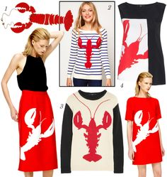Trend Driven: Tibi's Lobster Loving Gains Unlikely Trend Status - Coco's Tea Party Nautical Favors, Rock Lobster, Tatty Devine, Classic Outfits, Party Fashion, Fashion History, Fashion Prints, Textile Design, Lifestyle Blog