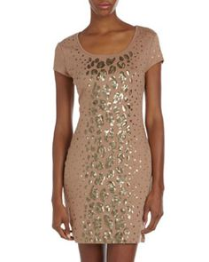 T6CYB BCBG Sequin-Leopard Cocktail Dress