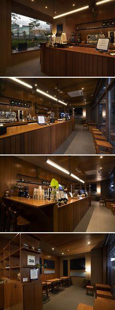 Home Decoration Ideas Images Diy Interior Doors, Interior Concept, Interior Design Magazine, Restaurant Interior Design, Interior Design Living Room, Wood Cafe, Bubble Tea Shop, Cafe Counter, Blue Cafe