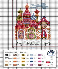 A nossa viagem pela Europa continua e em março viemos visitar Moscovo! A Catedral de São Basílio é um templo ortodoxo construído no séc. X... Dmc Cross Stitch, Cross Stitch House, Cross Stitch Freebies, Cross Stitch Bookmarks, Cross Stitch Borders, Cross Stitching, Cross Stitch Embroidery, Embroidery Patterns, Funny Cross Stitch Patterns