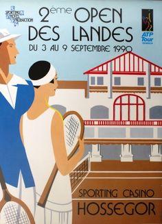 Tennis Open ATP Tour, 1990 - original vintage Art Deco style poster listed on AntikBar.co.uk