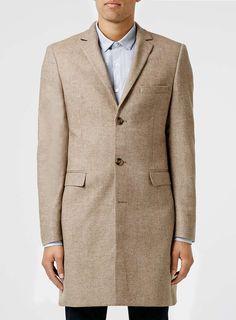Stone Wool Blend Smart Coat - Topman