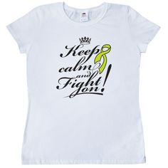 Non-Hodgkins Lymphoma Keep Calm and Fight On Women's T-Shirt - White | Hope Dreams Cancer Awareness Ribbon Shirts and Gifts
