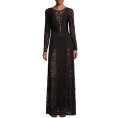BCBGMAXAZRIA Veira Geometric Lace Gown ($520) ❤ liked on Polyvore featuring dresses, gowns, apparel & accessories, black, lace gown, sheer lace gown, sheer gown, lace evening dresses and lace dress