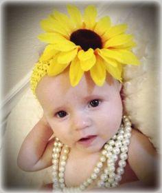 Baby Headband, Sunflower Headband, Crochet headband