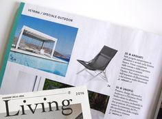 """Pergola Self inserita tra i prodotti di tendenza 2016 per l'arredo esterno nello """"speciale outdoor"""" di Living"""