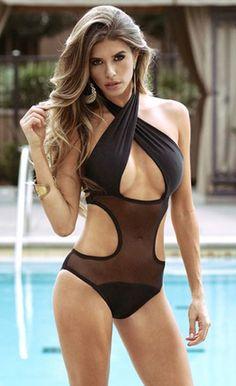 Black Mesh Cut out Monokini - Stella La Moda