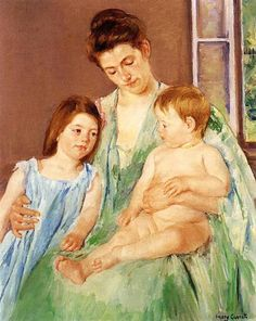 Young Mother and Two Children, 1905 by Mary Cassatt. Impressionism. genre painting. White House Collection