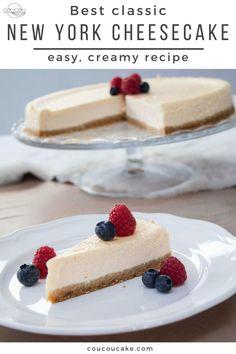 New York Cheesecake Rezept, Baked Cheesecake Recipe, Best Cheesecake, Best Homemade Cheesecake Recipe, New York Baked Cheesecake, Best Cake Recipes, Dessert Recipes, Desserts, Easy Recipes