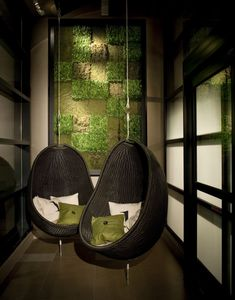 This hanging seats are featured in the Baronette Renaissance Hotel Lobby by d-ash design.
